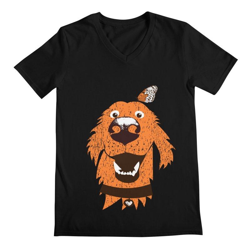 Orange dog with butterfly Men's Regular V-Neck by kouzza's Artist Shop