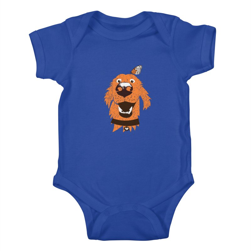 Orange dog with butterfly Kids Baby Bodysuit by kouzza's Artist Shop