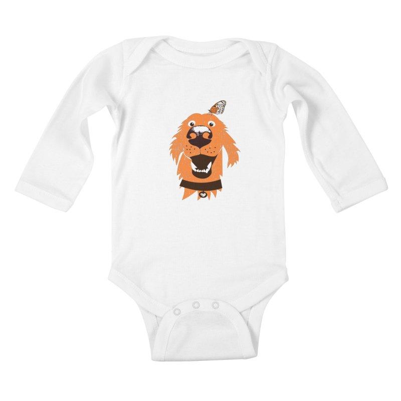Orange dog with butterfly Kids Baby Longsleeve Bodysuit by kouzza's Artist Shop