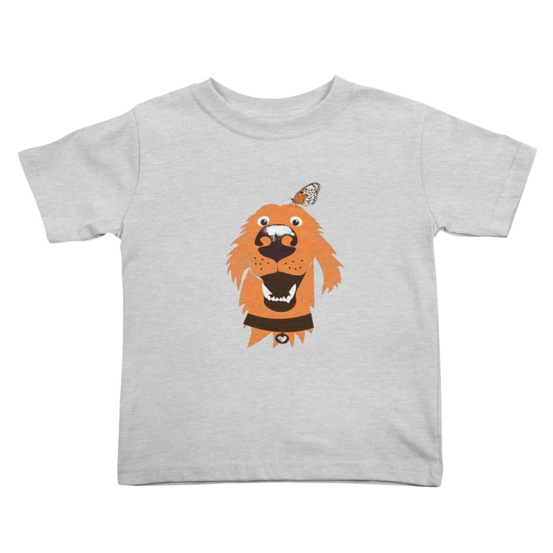 Orange dog with butterfly Kids Toddler T-Shirt by kouzza's Artist Shop