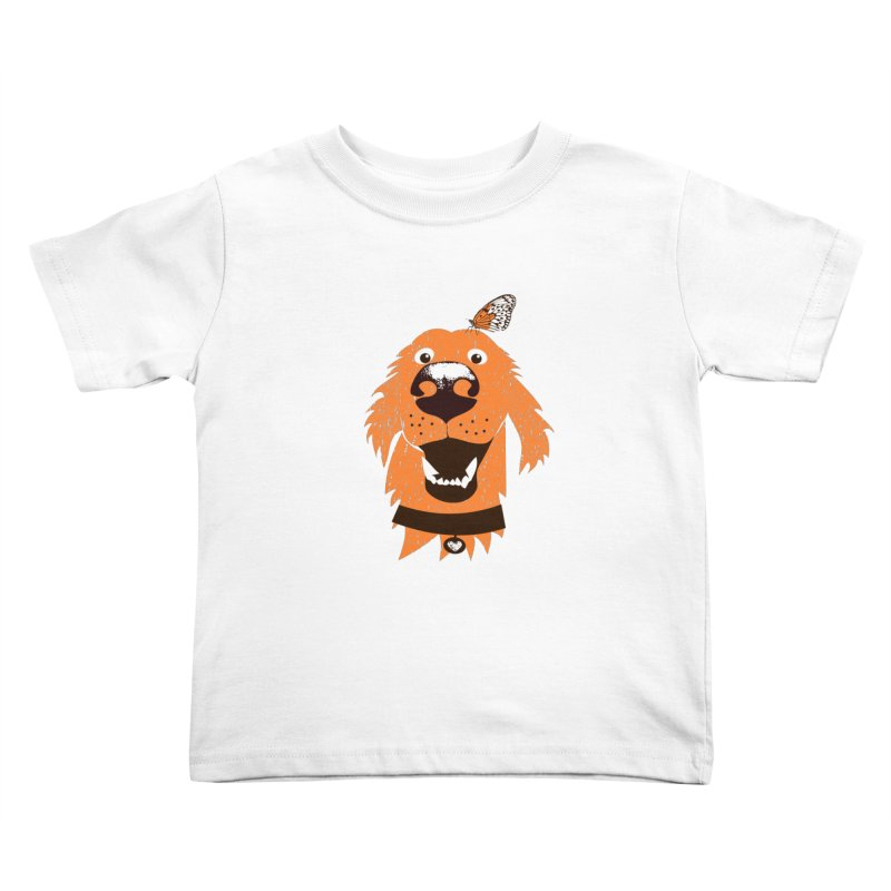 Orange dog with butterfly Kids Toddler T-Shirt by kouzza's Artist Shop