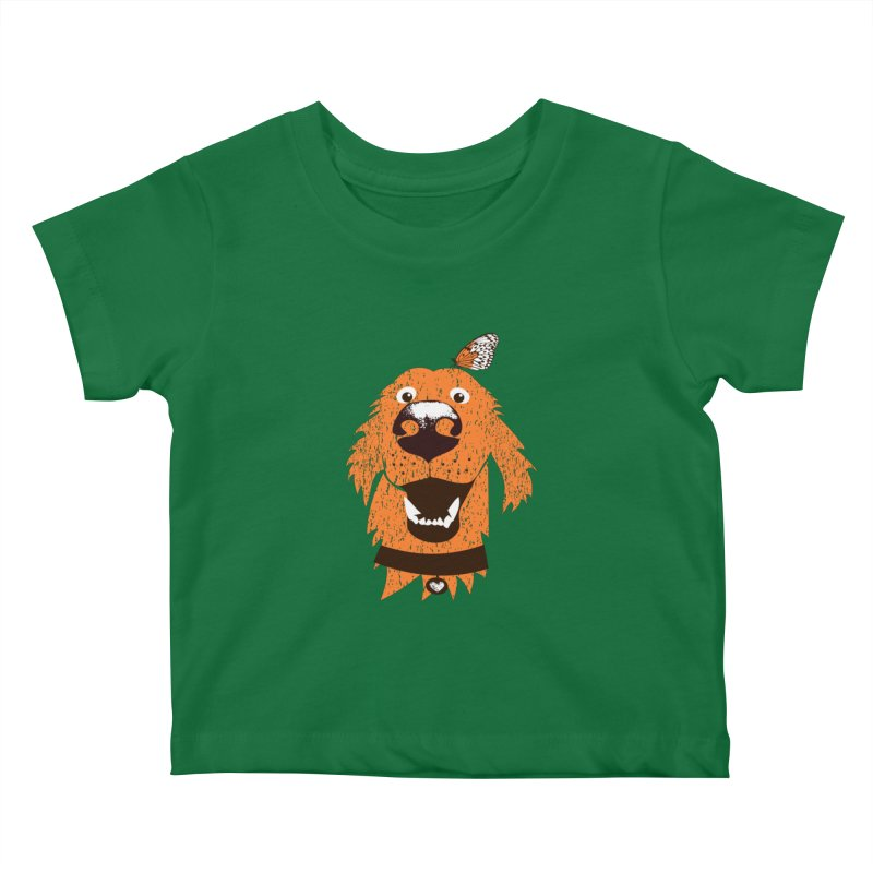 Orange dog with butterfly Kids Baby T-Shirt by kouzza's Artist Shop