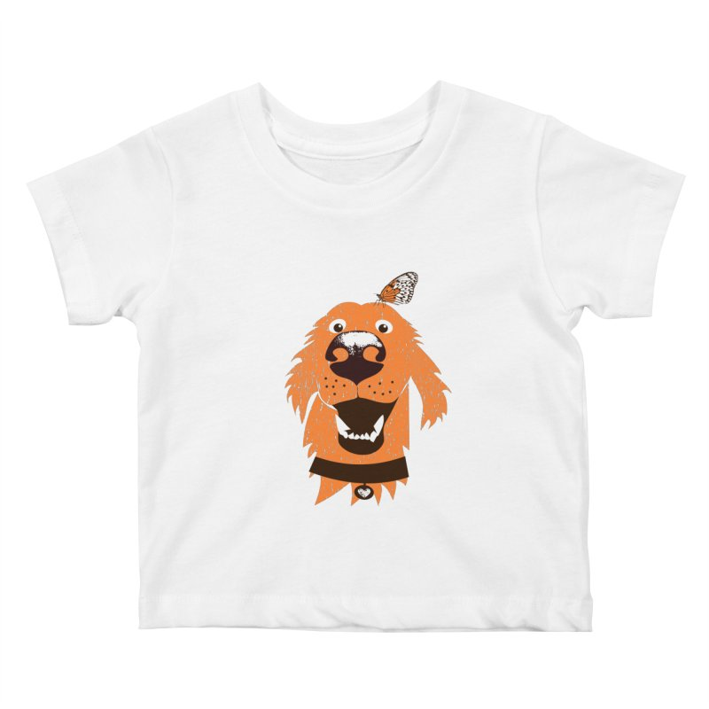 Orange dog with butterfly Kids Baby T-Shirt by kouzza's Artist Shop