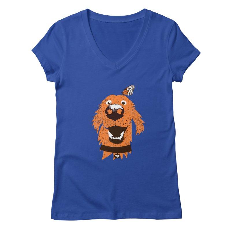 Orange dog with butterfly Women's V-Neck by kouzza's Artist Shop