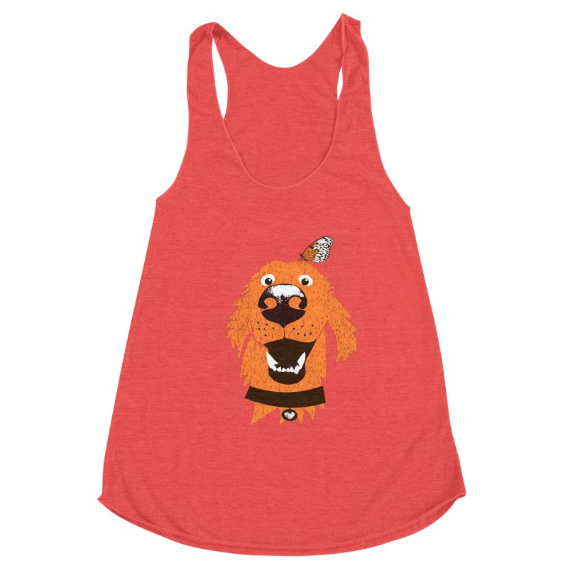 Orange dog with butterfly Women's Racerback Triblend Tank by kouzza's Artist Shop