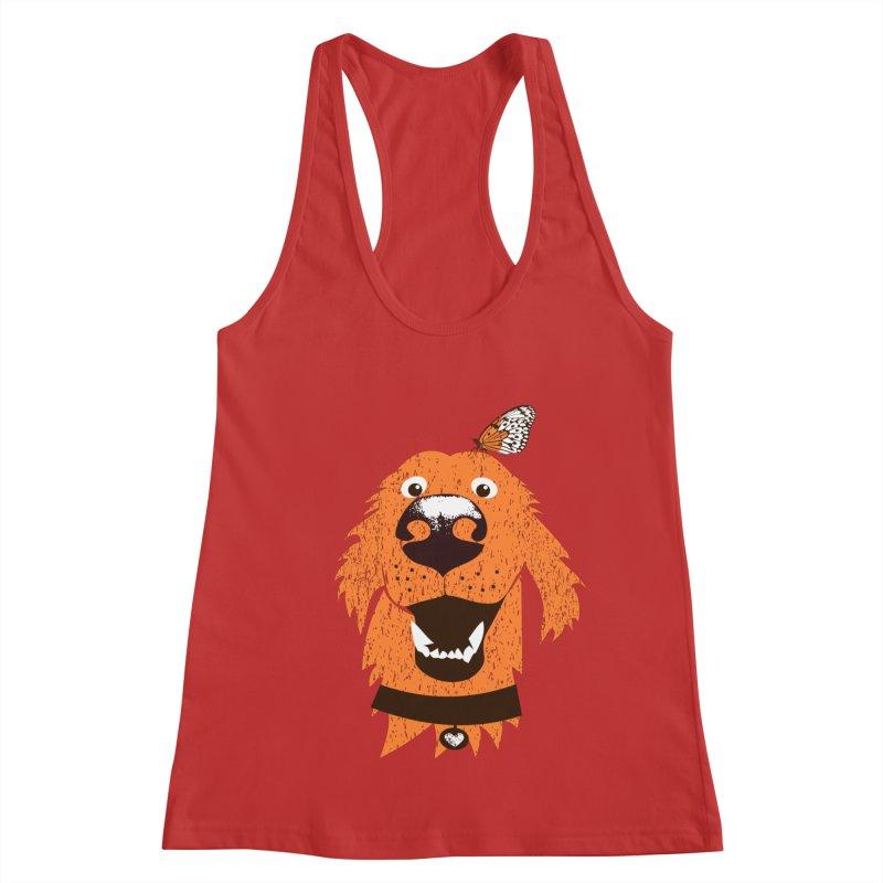 Orange dog with butterfly Women's Tank by kouzza's Artist Shop
