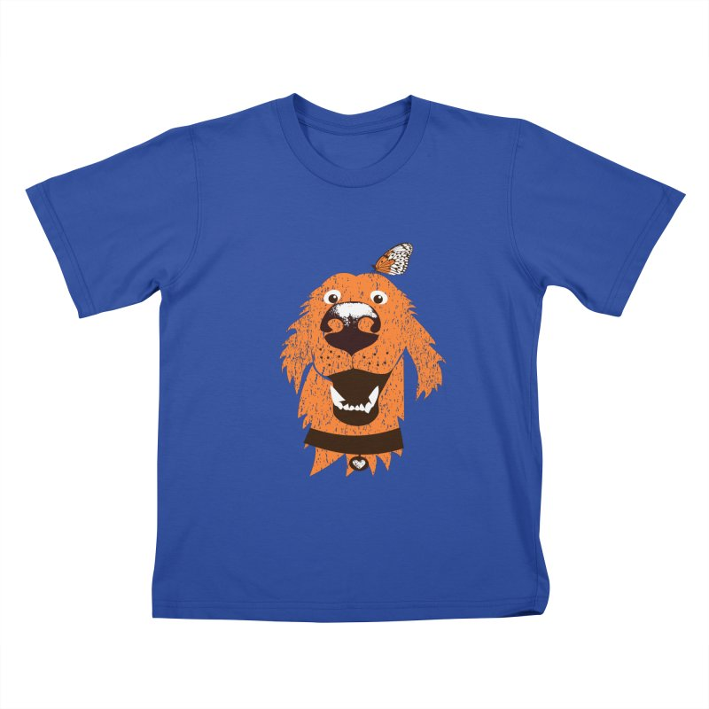 Orange dog with butterfly Kids T-Shirt by kouzza's Artist Shop