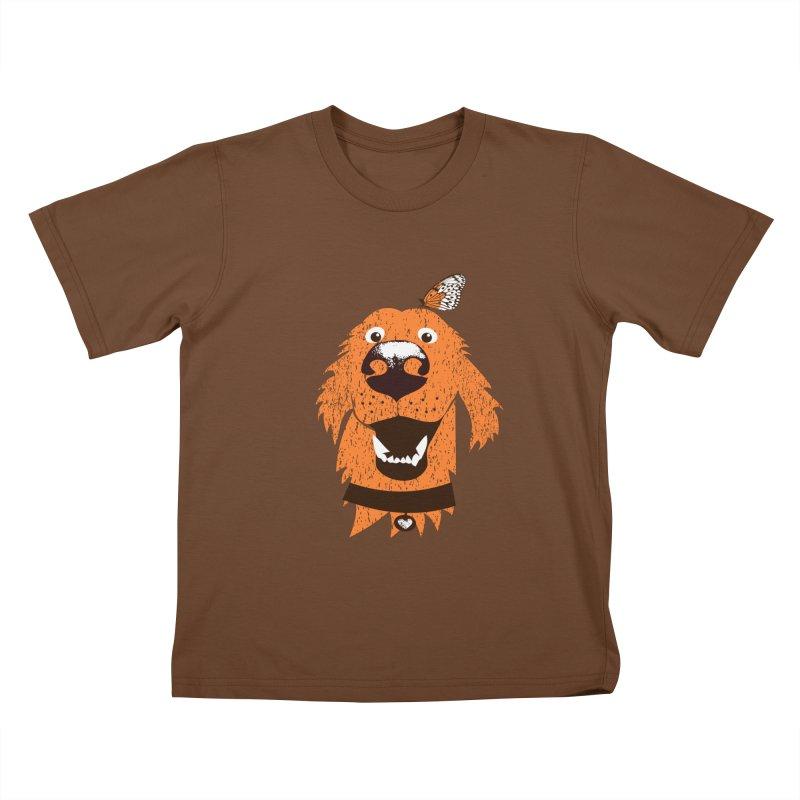 Orange dog with butterfly Kids T-Shirt by kouzza's Artist Shop