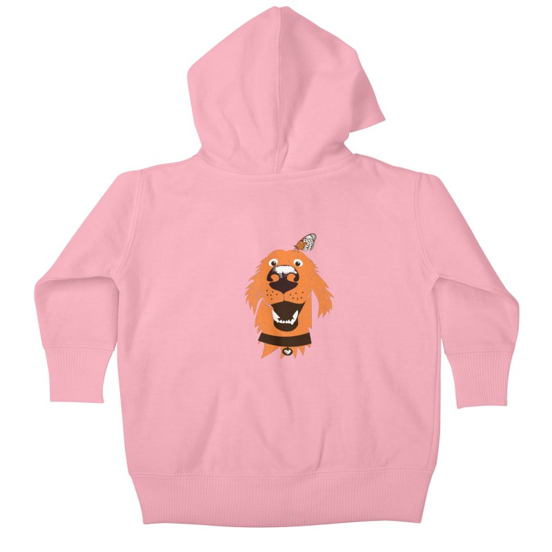 Orange dog with butterfly Kids Baby Zip-Up Hoody by kouzza's Artist Shop