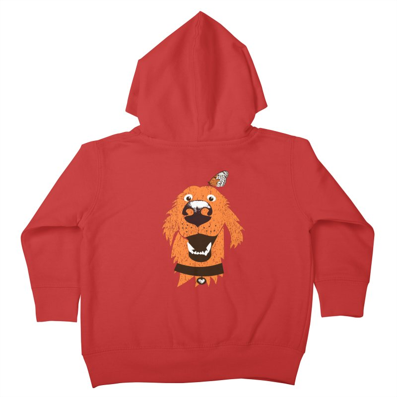 Orange dog with butterfly Kids Toddler Zip-Up Hoody by kouzza's Artist Shop