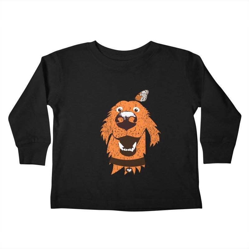 Orange dog with butterfly Kids Toddler Longsleeve T-Shirt by kouzza's Artist Shop