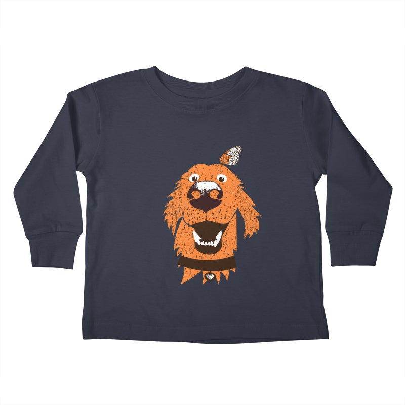 Orange dog with butterfly Kids Toddler Longsleeve T-Shirt by kouzza's Artist Shop