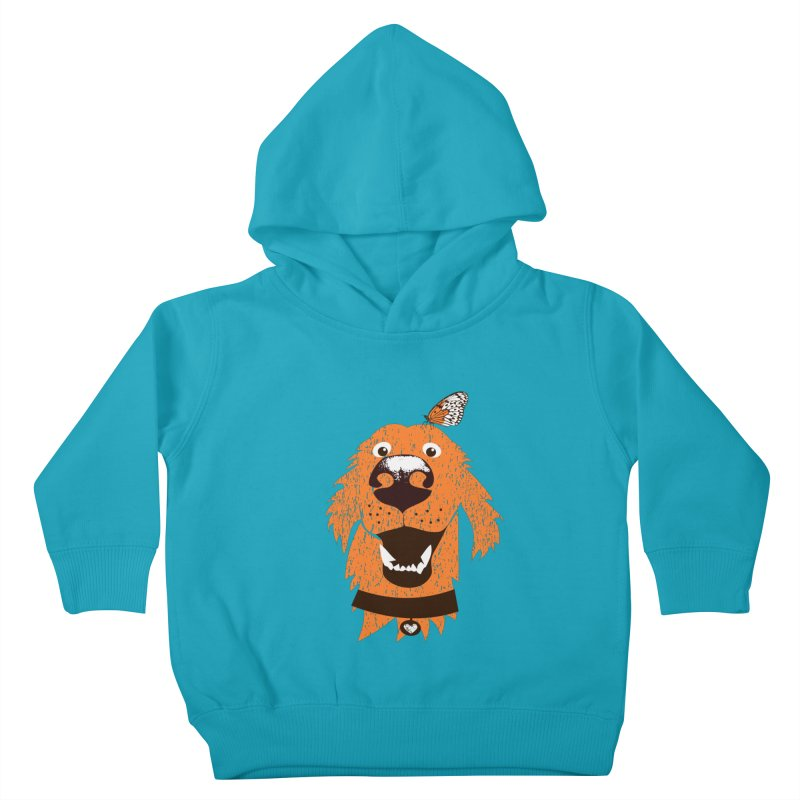 Orange dog with butterfly Kids Toddler Pullover Hoody by kouzza's Artist Shop