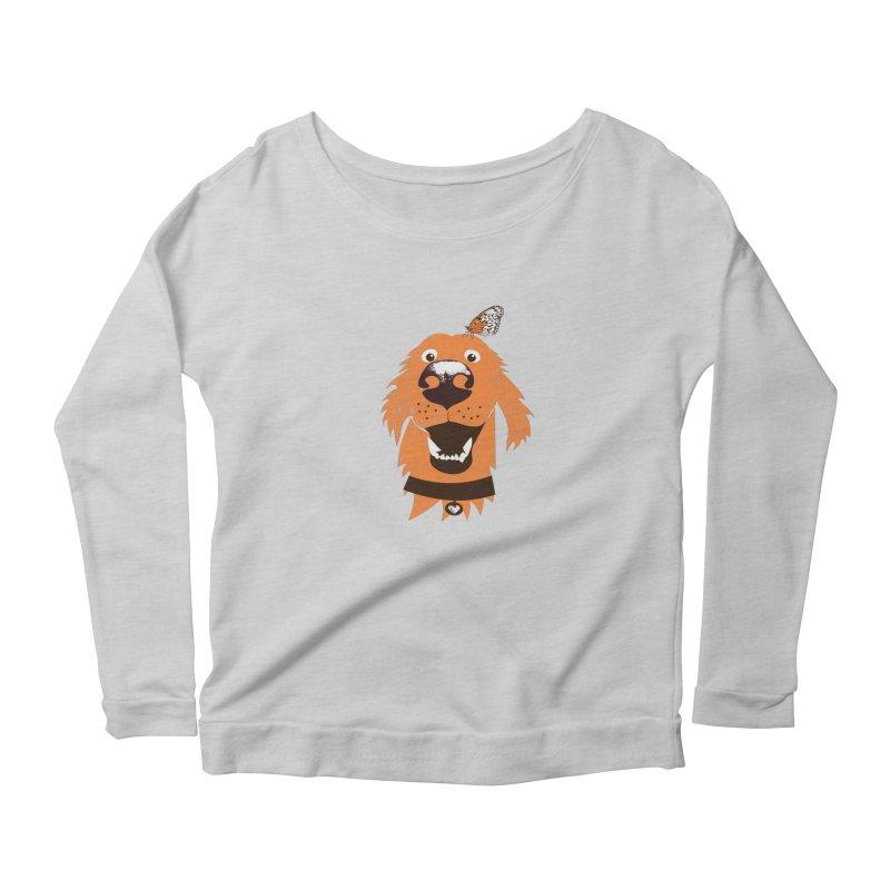 Orange dog with butterfly Women's Scoop Neck Longsleeve T-Shirt by kouzza's Artist Shop