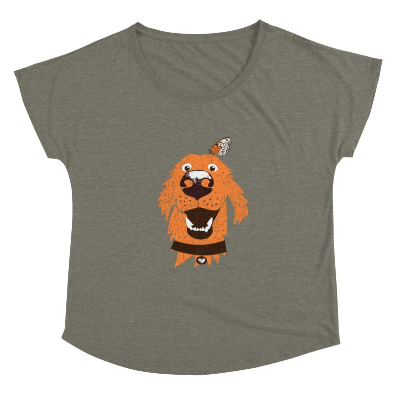Orange dog with butterfly Women's Dolman Scoop Neck by kouzza's Artist Shop
