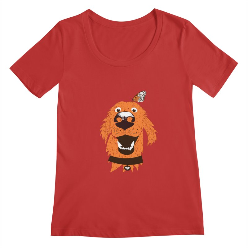 Orange dog with butterfly Women's Regular Scoop Neck by kouzza's Artist Shop
