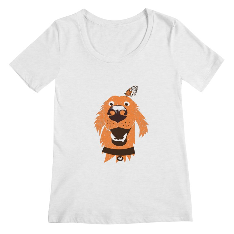 Orange dog with butterfly Women's Scoop Neck by kouzza's Artist Shop
