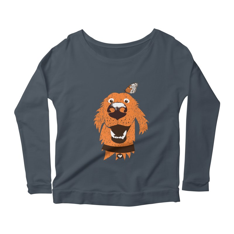 Orange dog with butterfly Women's Scoop Neck Longsleeve T-Shirt by kouzza's Artist Shop