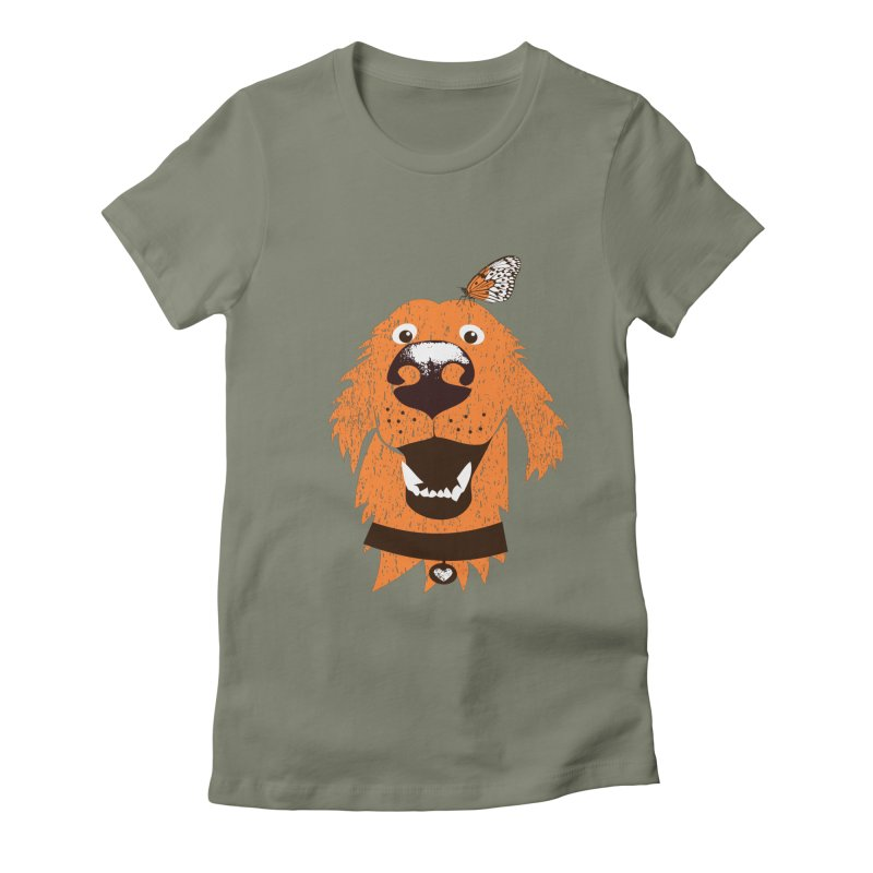 Orange dog with butterfly Women's Fitted T-Shirt by kouzza's Artist Shop