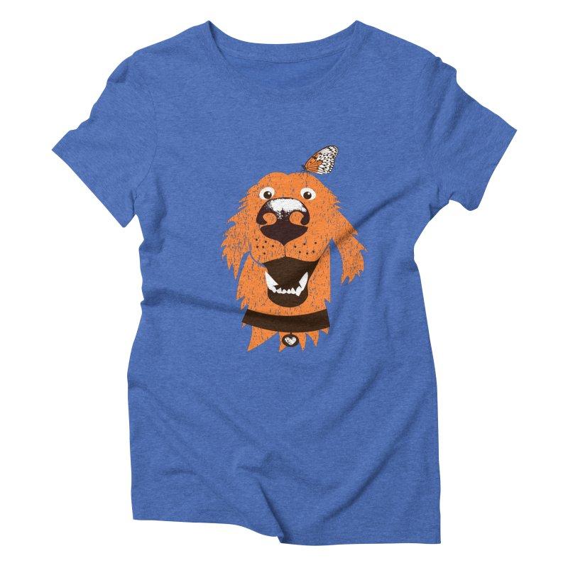 Orange dog with butterfly Women's Triblend T-Shirt by kouzza's Artist Shop