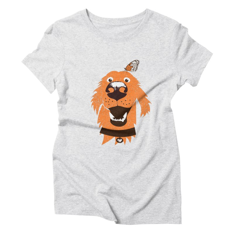 Orange dog with butterfly Women's T-Shirt by kouzza's Artist Shop