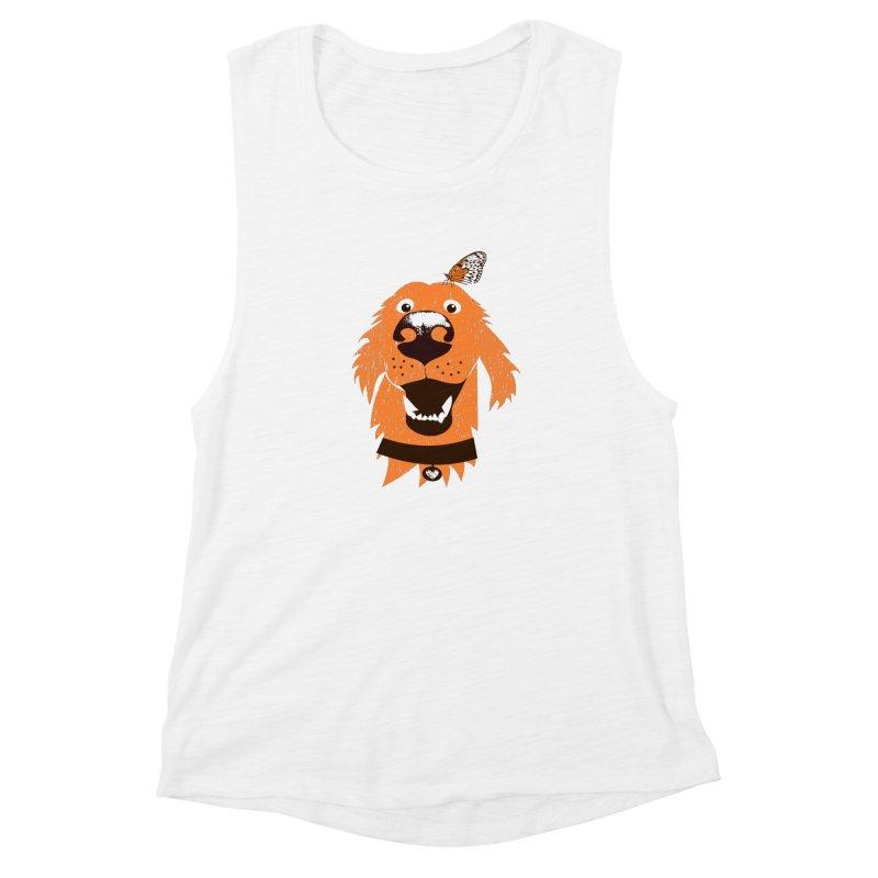 Orange dog with butterfly Women's Muscle Tank by kouzza's Artist Shop