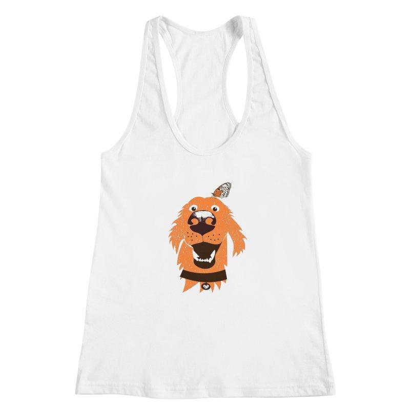 Orange dog with butterfly Women's Racerback Tank by kouzza's Artist Shop