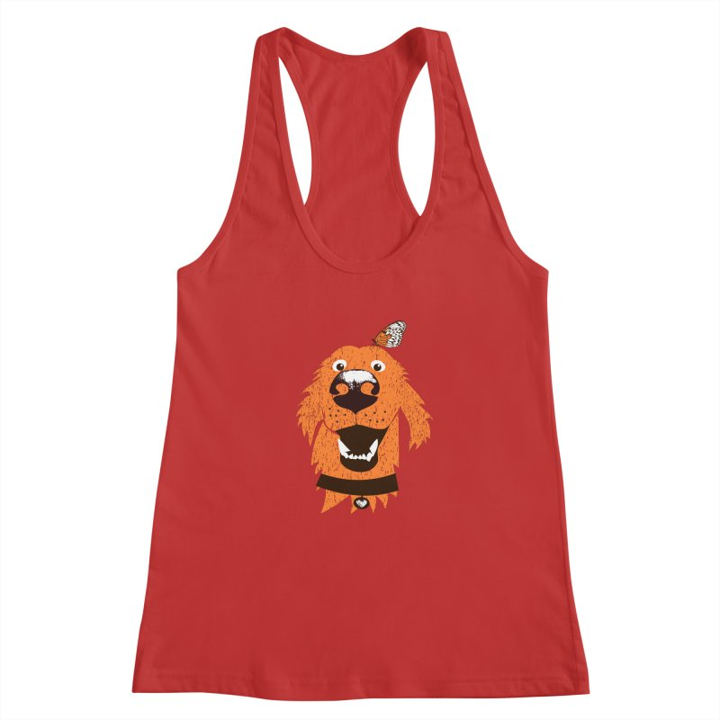 Orange dog with butterfly Women's Racerback Tank by kouzza's Artist Shop