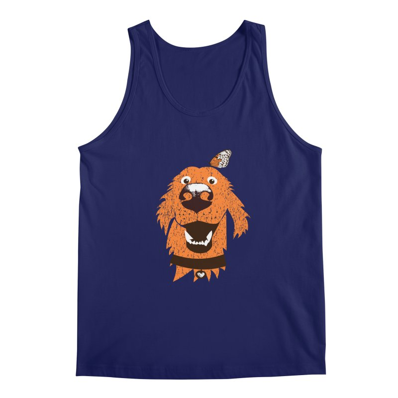 Orange dog with butterfly Men's Regular Tank by kouzza's Artist Shop