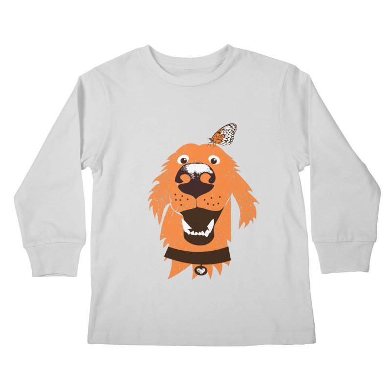 Orange dog with butterfly Kids Longsleeve T-Shirt by kouzza's Artist Shop