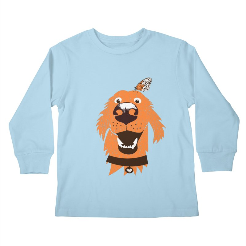 Orange dog with butterfly Kids Longsleeve T-Shirt by kouzza's Artist Shop