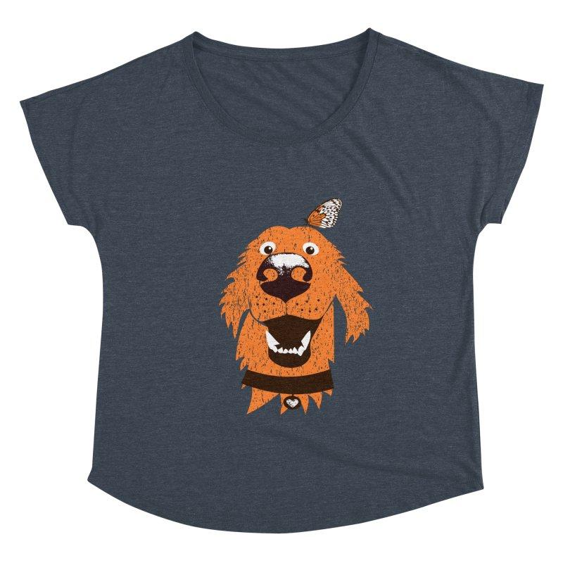 Orange dog with butterfly Women's Scoop Neck by kouzza's Artist Shop