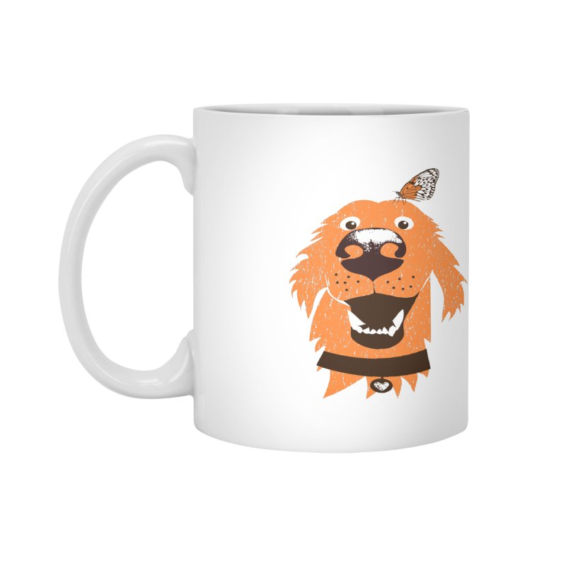 Orange dog with butterfly Accessories Mug by kouzza's Artist Shop
