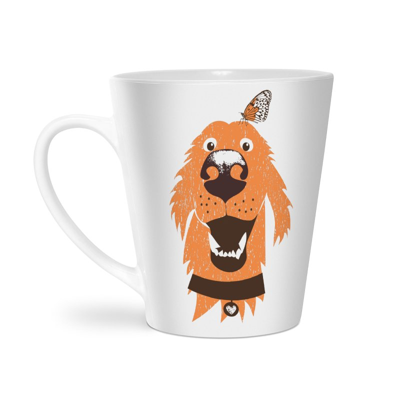 Orange dog with butterfly Accessories Latte Mug by kouzza's Artist Shop