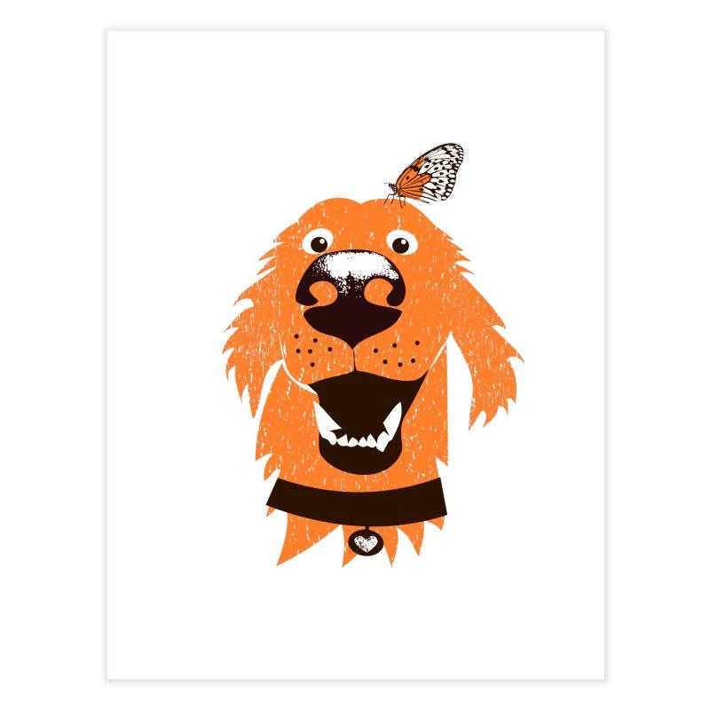 Orange dog with butterfly Home Fine Art Print by kouzza's Artist Shop