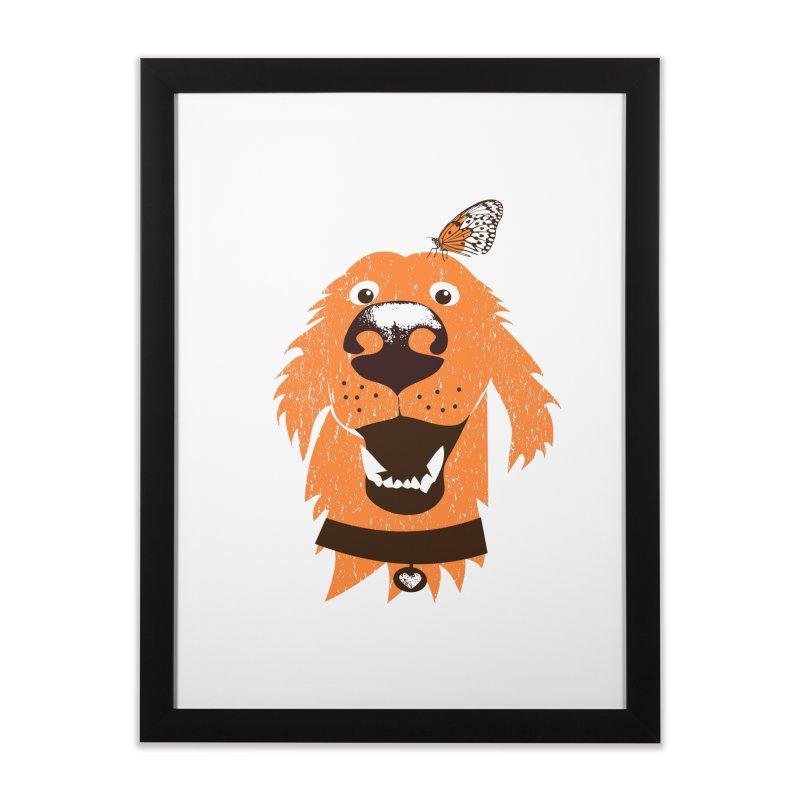 Orange dog with butterfly Home Framed Fine Art Print by kouzza's Artist Shop
