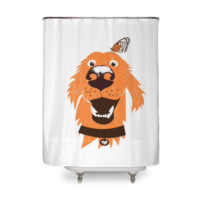 Orange dog with butterfly Home Shower Curtain by kouzza's Artist Shop