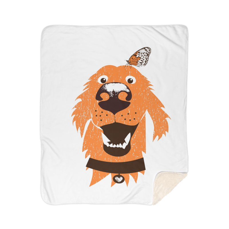 Orange dog with butterfly Home Sherpa Blanket Blanket by kouzza's Artist Shop