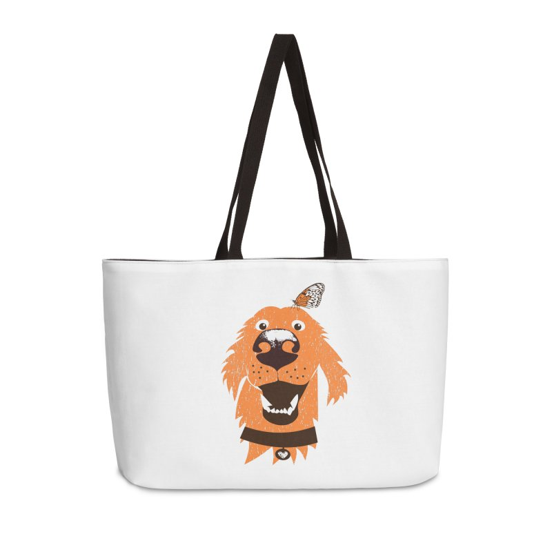 Orange dog with butterfly Accessories Weekender Bag Bag by kouzza's Artist Shop