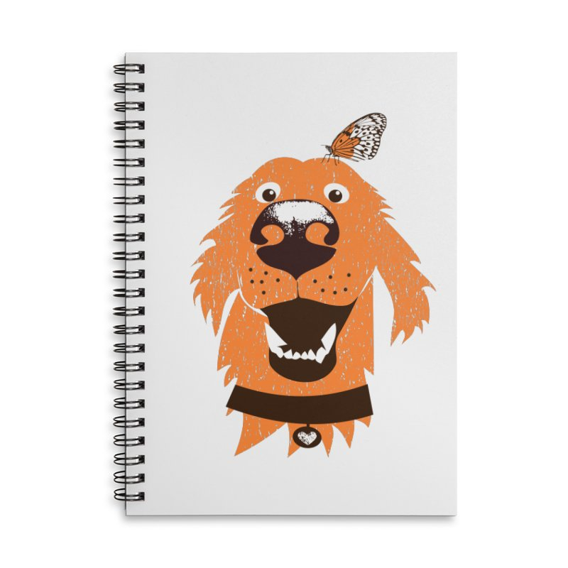 Orange dog with butterfly Accessories Lined Spiral Notebook by kouzza's Artist Shop