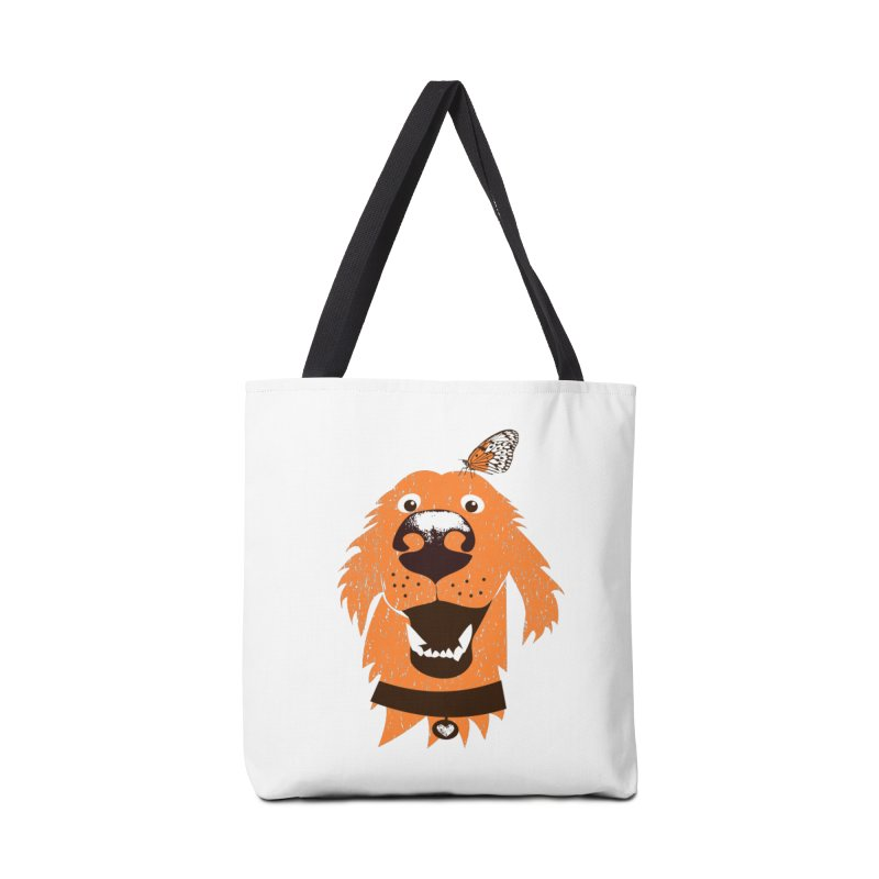 Orange dog with butterfly Accessories Tote Bag Bag by kouzza's Artist Shop