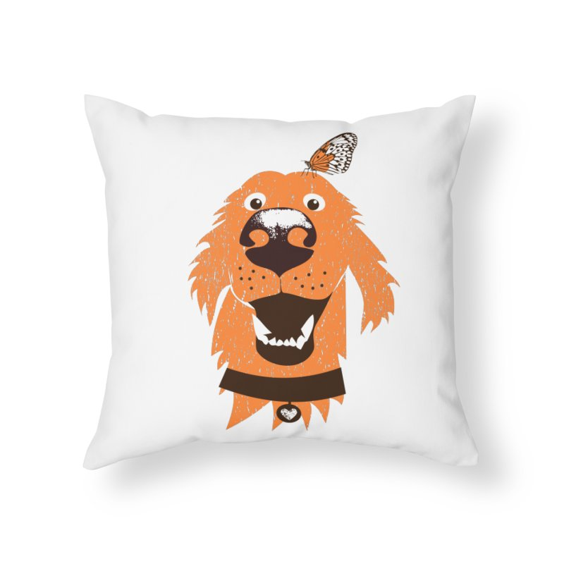 Orange dog with butterfly Home Throw Pillow by kouzza's Artist Shop