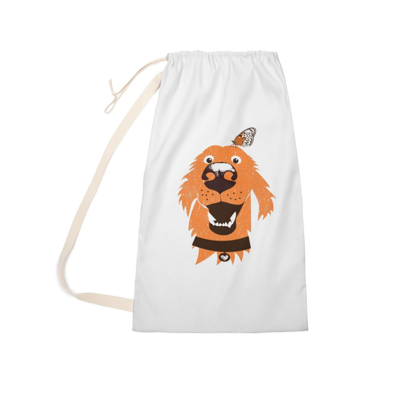 Orange dog with butterfly Accessories Laundry Bag Bag by kouzza's Artist Shop