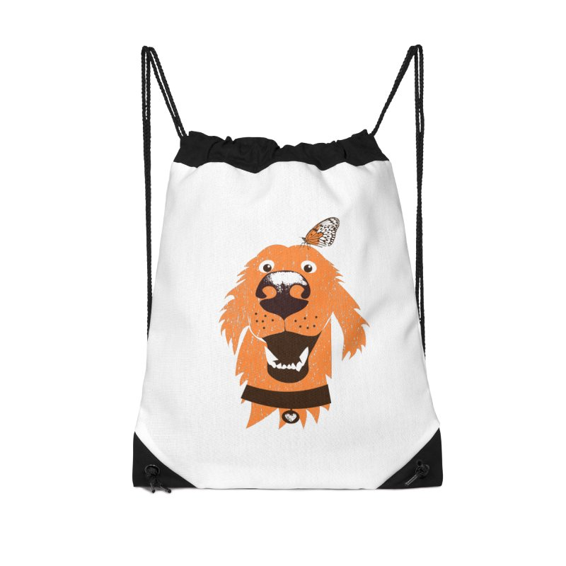 Orange dog with butterfly Accessories Drawstring Bag Bag by kouzza's Artist Shop