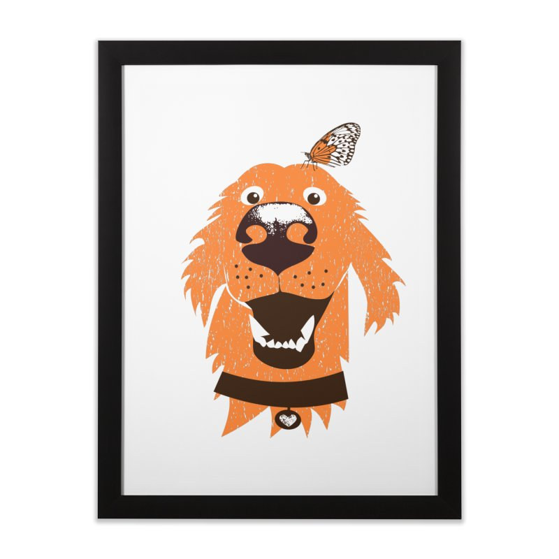 Orange dog with butterfly Home Framed Fine Art Print by kouzza's Artist Shop
