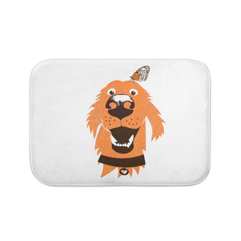 Orange dog with butterfly Home Bath Mat by kouzza's Artist Shop