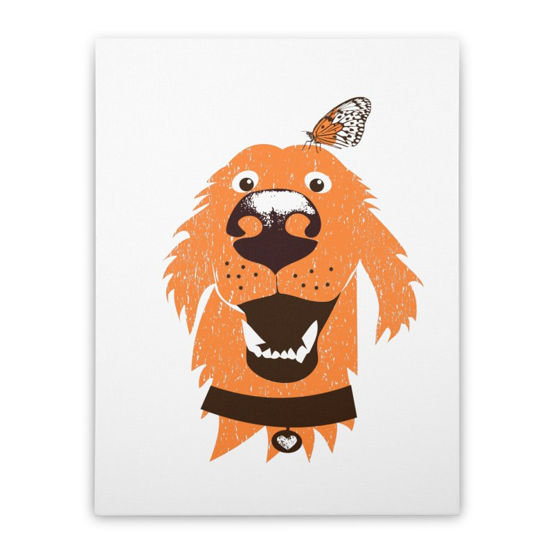 Orange dog with butterfly Home Stretched Canvas by kouzza's Artist Shop