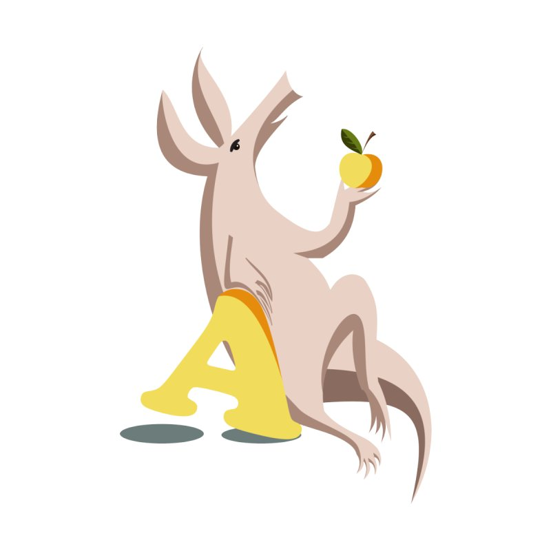 Aardvark and apple (To eat or not to eat) by kouzza's Artist Shop