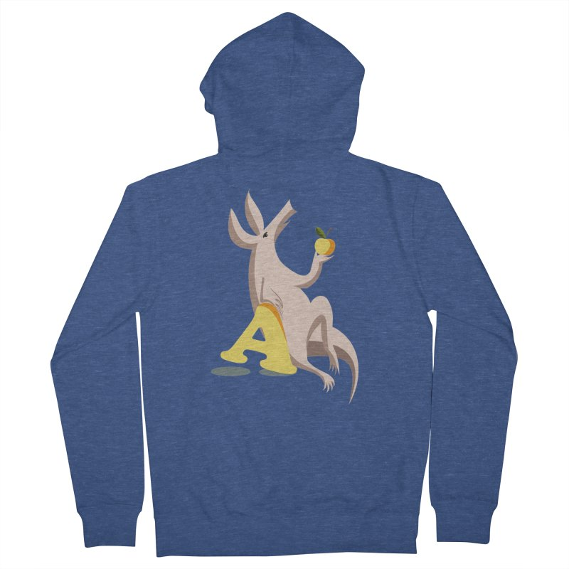 Aardvark and apple (To eat or not to eat) Men's French Terry Zip-Up Hoody by kouzza's Artist Shop