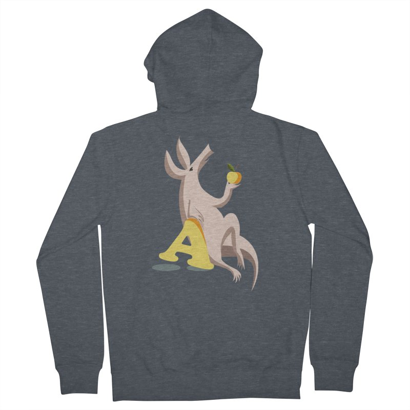 Aardvark and apple (To eat or not to eat) Women's French Terry Zip-Up Hoody by kouzza's Artist Shop